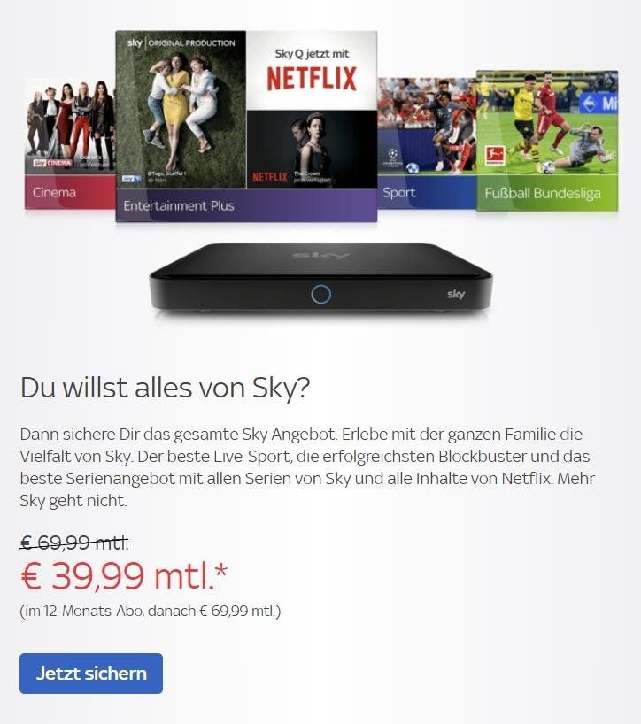 Sky Komplett Angebote 50 Rabatt Im 12 Monats Abo März 2019