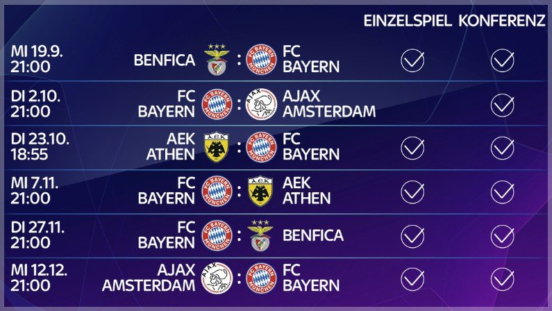 bayern champions league spielplan