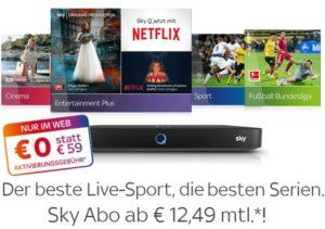 12-Monats-Sky Angebot inkl. Sky Q & Receiver - JETZT: 0€ Aktivierung!