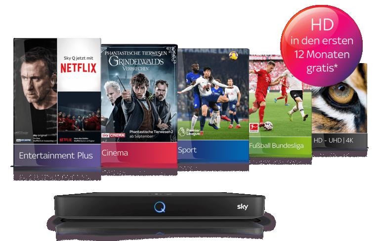 12-Monats-Sky Angebot - Sky Wunschpakete inkl. HD/UHD ab 14,99€/Monat!