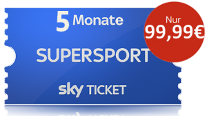 NUR KURZ: Sky Hinrunden-Ticket: 5 Monate Sky Ticket Supersport nur 99,99€