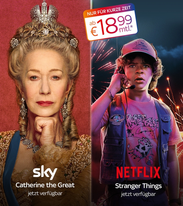 Komplettes Serien-Angebot: Sky Entertainment Plus + NETFLIX ab 18,99€/Monat*! TIPP: Auch mit Fixpreis buchbar!