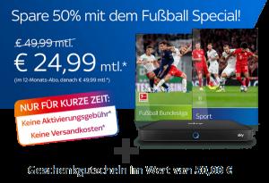 KURZ: Fußball-Special für nur 24,99€/Monat*! Inkl. 50€ Gutschein!