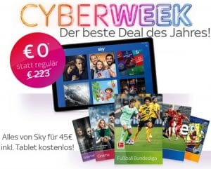 Sky Cyberweek Angebot 2020 🏴 JETZT: Alle Pakete in HD + Tablet = nur 45€!