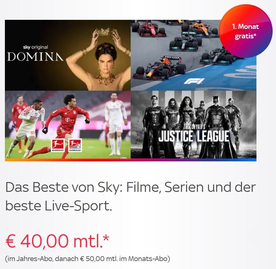 ALL INCLUSIVE! 🔥 Sky komplett Angebot: ab 40€/Monat! JETZT: bis 31.08. GRATIS!