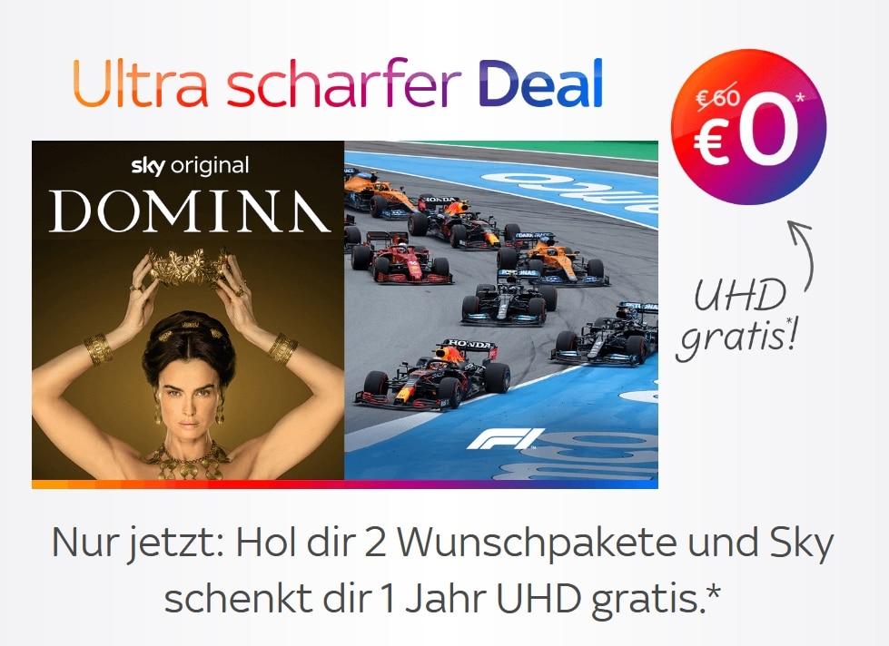 Sky Q Abo Angebot ab 12,50€! JETZT: UHD gratis ab 2 Wunschpaketen!