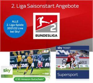2. Liga 2021/22 komplett Live - nur 25€ im Sky Q Abo - JETZT mit 50€ Gutschein!