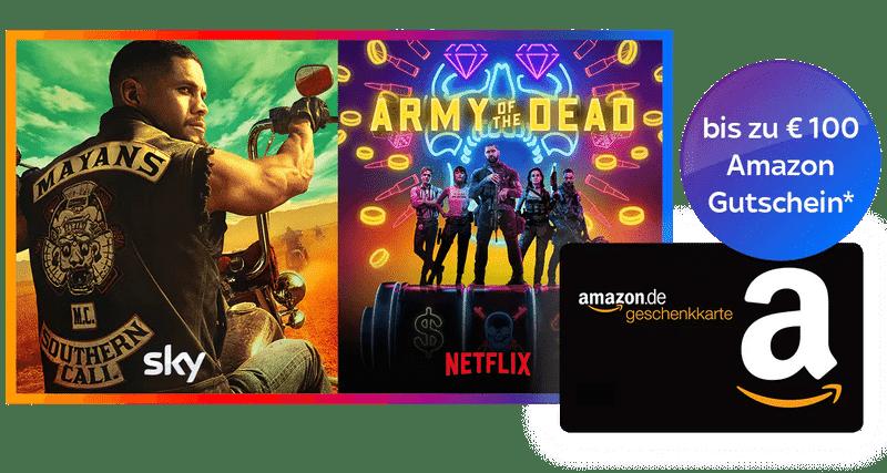 KURZ: Bis 100€ Amazon-Gutschein zum Sky Q Abo ab 12,50€/Monat!